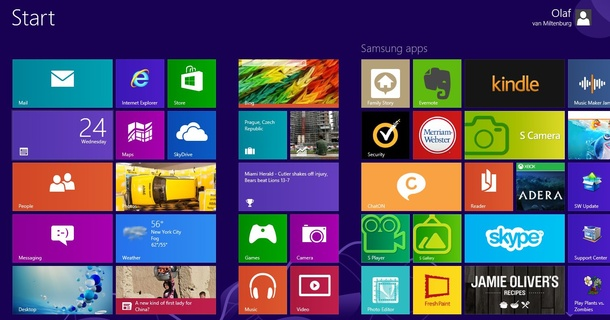 Windows 8 interface met Live Tiles